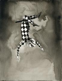 Inktober 2017, Day 27. Harlequin Acrobat. Scott Keenan, 2017
